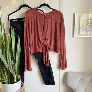 Free People Tie Waist Terry Top